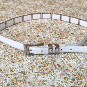 Accessories - White Leather Embellished Belt.